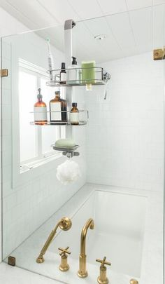 Introducing the over door shower caddy. A modern solution for organizing your shower clutter. Bathroom Shower Organization, Bathroom Mirror Storage, Best Bathroom Tiles, Shower Storage, Bathroom Doors, Door Storage, Shower Doors, Small Bathroom, Shower Caddies