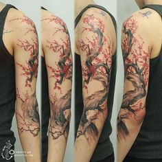 Cherry blossom tattoo sleeve tattoo. Cherry blossoms can also look like awesome sleeve tattoos for everyone. It gives you the oriental and at the same time awesome vibe by simply looking at it.