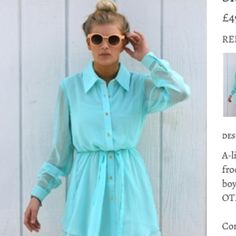 #neverfullydressed turquoise shirt dress