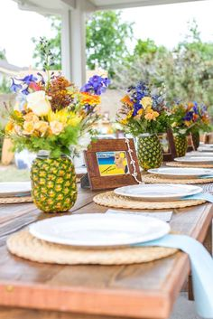 Place settings at a vintage luau Hawaiian birthday party! See more party planning ideas at CatchMyParty.com!