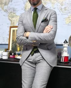"""kleidsam: """"Day Two, """"Monochromatic week"""", Post No. shirt and flannel suit Mens Fashion Suits, Mens Suits, Fashion Outfits, Shirt And Tie Outfits, Best Shirt Brands, Jacket Style, Suit Jacket, Terno Slim, Dapper Suits"""