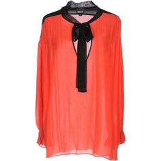 Just Cavalli Blouse ($140) ❤ liked on Polyvore featuring tops, blouses, red, v neck tops, red long sleeve top, long sleeve tops, long sleeve blouse and red long sleeve blouse