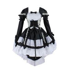 Hee Grand Damen Cosplay Kostuem Lolita gotische Kleider Abendkleider fuer Party Schwarz