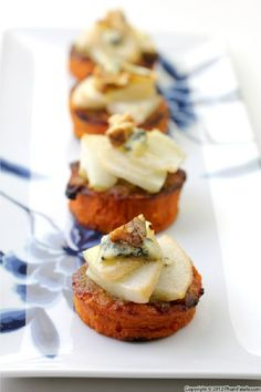 Pear Blue Cheese Yam Appetizers