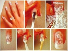 This is a very beautiful nail design, but you need an airbrush if you want it. It is not that complicated. Simply start with a French manicure, then apply clear nail polish and then cover the nail with a piece of lace and airbrush it like a stencil. Then remove the lace carefully and clean your skin. Add a rhinestone or any other nail accessory to complete the design.