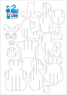 Teddy Bear Pop Up Card Template Free Kirigami Patterns, Kirigami Pop Up, Kirigami Templates, Pop Up Card Templates, Origami And Kirigami, Card Patterns, Doll Patterns, Pop Up Art, Cardboard Crafts