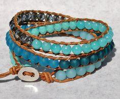 Ocean Blue 3X Leather Wrap Bracelet, Aqua Beach Bracelet by SeaSide Strands
