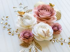 5 pcs set of roses nursery paper flowers nursery decor   Etsy