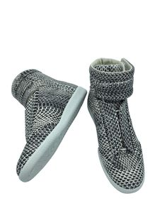 MAISON MARGIELA Black & White Water Snake Future High-Top Sneakers Size 8us (41) Snakeskin high-top sneakers in black and white. Round toe. Concealed tonal lace-up closure. Padded tongue. Padded ankle