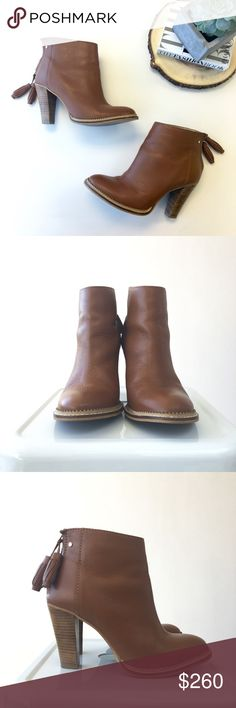"""Cognac Ecarna Ankle Boots With Tassel Tan brown leather ankle boots with stacked heels and zip closure with double tassel pulls. Approx 3.5"""" heel. Excellent condition. UK size 6. Style name Ecarna. Comes with box. Please carefully review each photo before purchase as they are the best descriptors of the item. My price is firm. No trades. First come, first served. Thank you! :) Ted Baker Shoes Ankle Boots & Booties"""