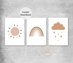 Terracotta Rainbow Sun Cloud Printable Print Set - Neutral Boho Nursery Wall Art - Printable Wall Art
