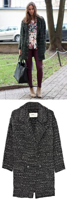 CAROLINES MODE ETOILE ISABEL MARANT COAT BOUCLE TWEED GREY GRAY CELINE BAG BURGUNDY PRUPLE LEATHER PANTS FLORAL CELINE INSPIRED PRINT ZARA SHIRT