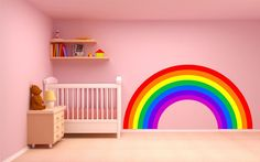 Rainbow children s bedroom decal wall art vinyl sticker all sizes available