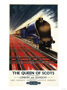 Poster produced for British Railways(BR), Eastern Region (ER), promoting the The Queen of Scots pullman service from Kings Cros Station, London to Queen Street Station, Glasgow each weekday. The poster shows the 'Queen of Scots' locomotive travelling at s Posters Uk, Train Posters, Railway Posters, Cool Posters, Retro Poster, Poster Ads, Poster Vintage, Vintage Travel Posters, Vintage Advertisements