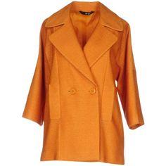 Liu •jo Overcoat (¥34,305) ❤ liked on Polyvore featuring outerwear, coats, orange, over coat, lapel coat, collar coat, double breasted overcoat and double-breasted coat