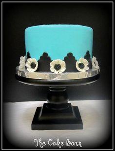 elegant blue and black floral cake