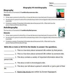 FREE! Do your kids confuse biography and autobiography