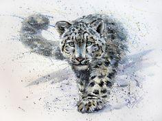 snow leopard Art Print by kostart Leopard Tattoos, Snow Leopard Tattoo, Watercolor Paintings Of Animals, Animal Paintings, Animal Drawings, Painting Art, Snow Leopard Drawing, Cat Tattoo, Big Cats