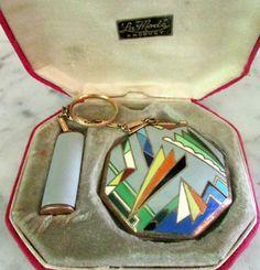 RARE ANTIQUE ART DECO GILT STERLING SILVER ENAMEL COMPACT LIPSTICK IN ORIG CASE