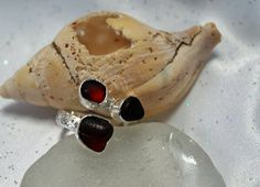 Sea Glass Ring Red Sea Glass Sterling Silver by kathyarterburn, $70.00