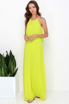 Dee Elle Hue Are Lovely Chartreuse Maxi Dress at Lulus.com!