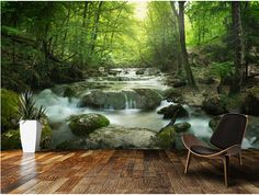Custom photo landscape wallpaper,Enchanting Forest waterfall 3D murals for living room kitchen bedroom waterproof PVC wallpaper