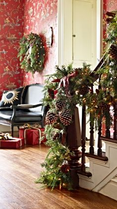Resembling a nursery-fresh custom creation, our exclusive Asheville Estate Cordless Wreath celebrates the lush emerald tones of an evergreen medley. Victorian Christmas, Country Christmas, Christmas Home, Christmas Holidays, Christmas Crafts, Christmas Mantles, Christmas Villages, Silver Christmas, Christmas Christmas