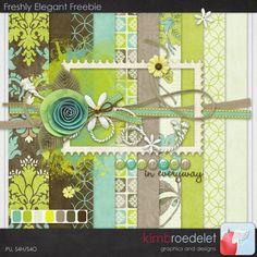 Freshly Elegant Freebie can be found at  http://scrapbooking.craftgossip.com/free-digital-kit-freshly-elegant/2011/05/16/   I love the greens and rolled flower!