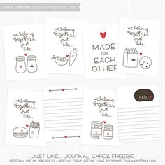"""Free 8 – """"We belong together"""" printable 3×4″ journal cards (for Valentine's Day or any day) #Love"""