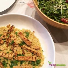 """Creamy and delicious, this #dairyfree Parmesan risotto recipe (with @goveggiefoods ) is an elegant weeknight meal...or may I suggest a romantic meal for two this Valentine's Day.  Just top with slices of your favorite protein (I used marinated strips of @beyondmeat grilled """"chicken"""") and some veggies or a salad.  Get the recipe over at VeegMama.com today.  #healthyfood #veegmama #risotto #whatveganseat #vegansofig"""