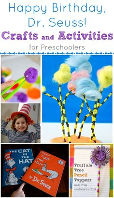 Seuss Crafts and Activities for Preschoolers -- so many ideas for learning and play time fun! Preschool Classroom, Classroom Activities, Preschool Activities, Kindergarten, Dr Seuss Birthday, Happy Birthday, Dr Seuss Week, Dr Suess, March Themes