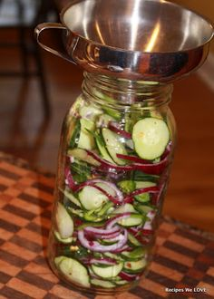 Refrigerator Cucumber Salad.... The best thing ever! I could eat this ALL day!