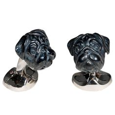 DEAKIN & FRANCIS Black Enamel Silver Pug Dog Cufflinks | From a unique collection of vintage cufflinks at http://www.1stdibs.com/jewelry/cufflinks/cufflinks/