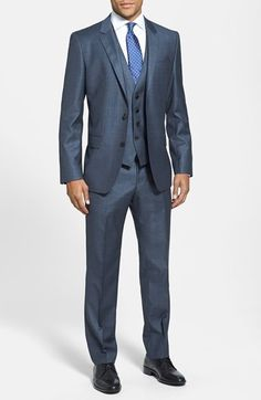 Free shipping and returns on BOSS HUGO BOSS 'Huge/Genius' Trim Fit Three-Piece Plaid Wool Suit at Nordstrom.com. Tonal plaid-patterned wool forms a modern-cut suit featuring a two-button notch-lapel jacket, flat-front trousers and a matching vest.