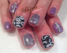 Purple, silver with black and white matte love and kisses nails