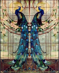 """Beautiful """"Art Nouveau"""" Tiffany Glass This would be great on a set of doors.but with the peacocks facing each other Motifs Art Nouveau, Design Art Nouveau, Motif Art Deco, Art Design, Glass Design, Sea Glass Art, Stained Glass Art, Stained Glass Windows, Mosaic Glass"""