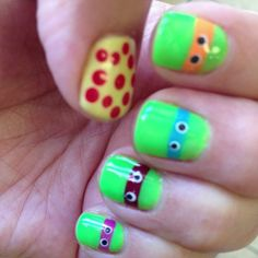 my teenage mutant ninja turtle nails for Ian's 5th birthday =D He loved mommy's nails