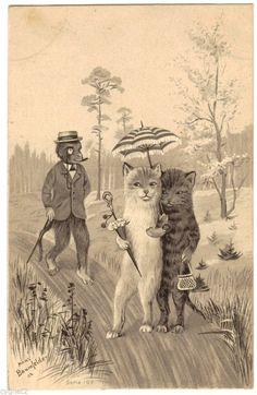 Postcard German Cats Monkey on A Walk Signed Baumfelder Series 192   eBay