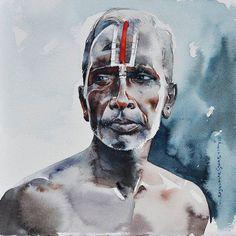 Rajkumar Sthabathy -දිය සායම් චිත්ර Watercolor Face, Watercolor Artwork, Watercolor Portraits, Watercolor Landscape, Indian Artwork, Black Artwork, Indian Paintings, Watercolor Paintings For Beginners, Indian Artist
