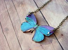 Blue Butterfly Necklace. $22.00 #butterfly #necklace #jewelry