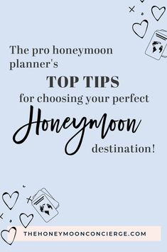 There is a perfect honeymoon destination for every couple. To choose yours, keep these key factors in mind. Honeymoon planning tips from The Honeymoon Concierge. About: Top honeymoon hotels, honeymoon planning checklists Winter Wedding Destinations, Top Honeymoon Destinations, All Inclusive Honeymoon, Greece Honeymoon, Honeymoon Ideas, Destination Weddings, Wedding Locations, Honeymoon Packing, Romantic Getaways