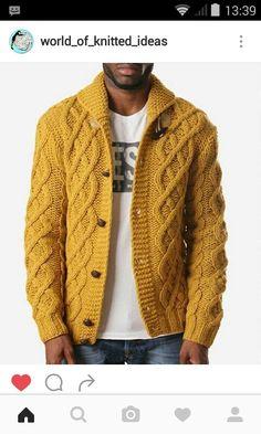 Men Sweater, Mens Chunky Cardigan, Knit Cardigan, Sweater Fashion, Mustard  Cardigan, d53fd74523