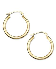 10k Gold Small Polished Round Hoop Earrings Jewelry Watches Macy S