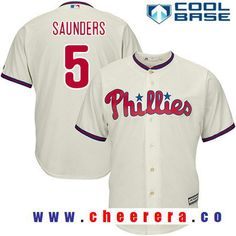 mens philadelphia phillies 5 michael saunders cream alternate stitched mlb majestic cool base jersey