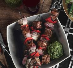 Lamb Kebabs with Mint Pesto Photo - Grilled Meats Recipe | Epicurious.com
