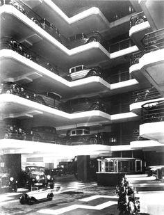 Original Citroen Showroom in Paris. Noctis, Mallet Stevens, Utopia Dystopia, Citroen Car, Garage, Steel Buildings, Park City, Retail Design, Old Pictures
