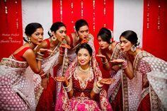 Hindu wedding, red and white sarees, bridesmaids, stunning bride, Fiji islands #aviana2015 Anamika weds Avi