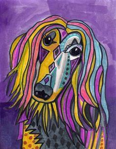 50 Off Today  Afghan Hound Art Poster Print of por HeatherGallerArt
