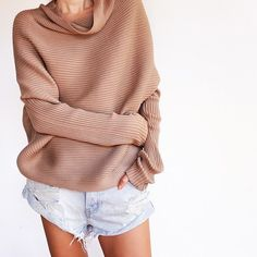 cozy fall sweater with cut offs