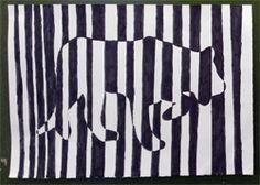 Une lionne en code-barres, à la manière de Vasarely